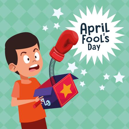 April fools day cute boy cartoon vector illustration graphic design