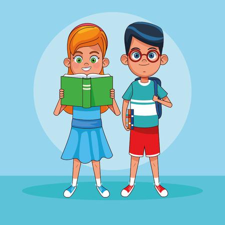 Kids boy and girl reading books cartoons vector illustration graphic design