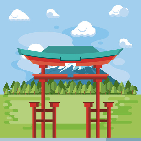 Japanese temple in nature scenery vector illustration graphic design