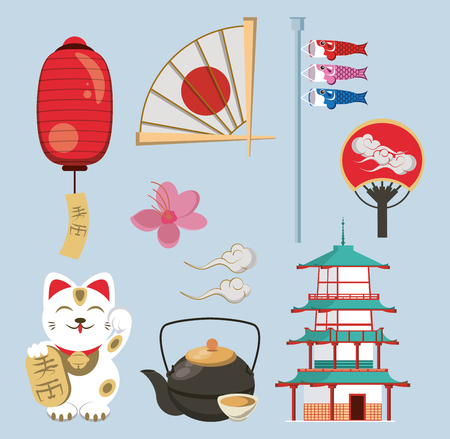 Japanese architecture and elements collection vector illustration graphic design