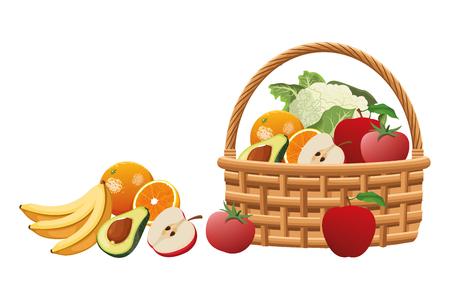 panier en osier avec des icônes de dessin animé de fruits et légumes vector illustration graphic design Vecteurs
