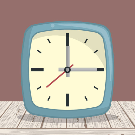 Clock square frame on table cartoons vector illustration graphic design Illustration