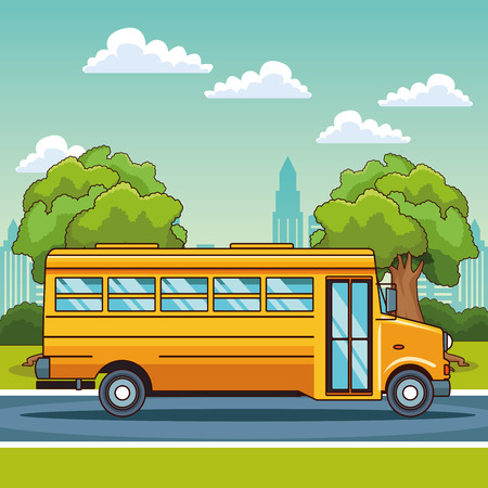 School bus passing by city scenery cartoon vector illustration graphic design