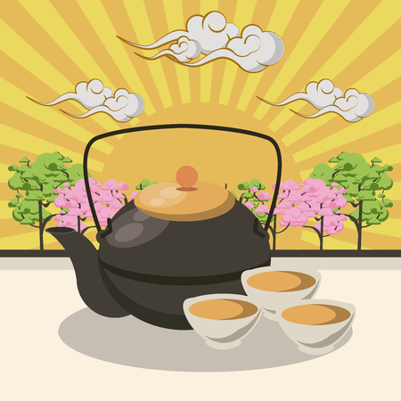 Japanese tea pot with cups in nature scenery vector illustration graphic design