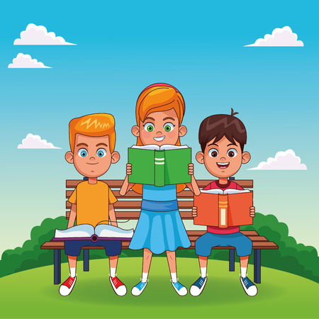Kids with books seated on bench in park cartoons vector illustration graphic design