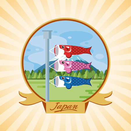 Japan fish pennants in nature round icon ribbon banner vector illustration graphic design Standard-Bild - 120459905
