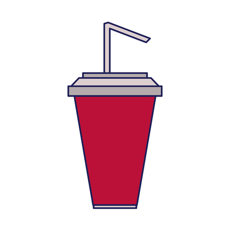 Soda cup with straw cartoon isolated vector illustration graphic design