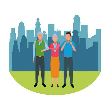 elderly couple and man avatar cartoon character cityscape skyscraper vector illustration graphic design