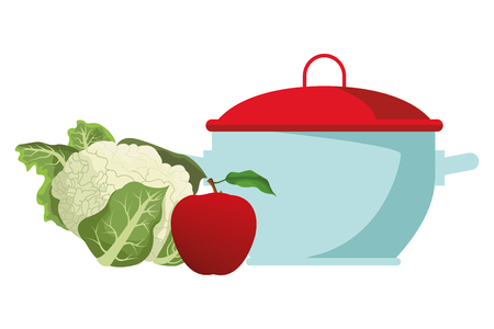 cauliflower and apple icon cartoon isolated with cooking pot vector illustration graphic design 일러스트