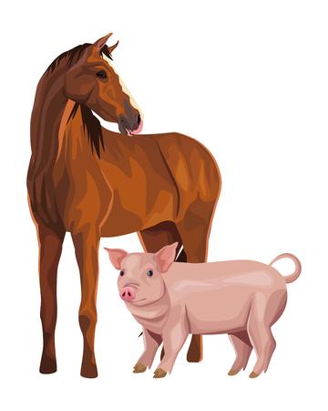 disegno grafico dell'illustrazione di vettore del fumetto dell'icona del maiale e del cavallo