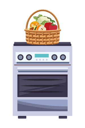 wicker basket with fruit and vegetables icon cartoon isolated over stove vector illustration graphic design