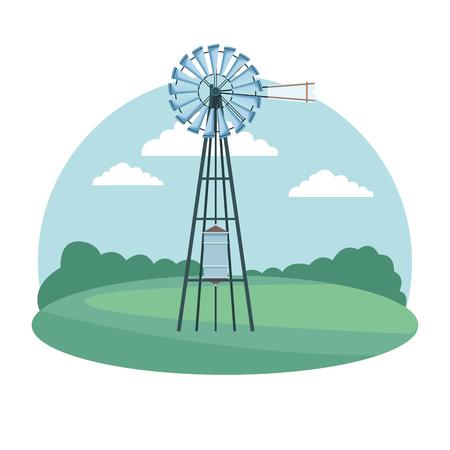 wind turbine icon cartoon isolated rural landscape vector illustration graphic design