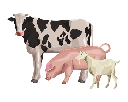 cow pig and goat icon cartoon vector illustration graphic design  イラスト・ベクター素材