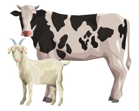 cow and goat icon cartoon vector illustration graphic design Illustration