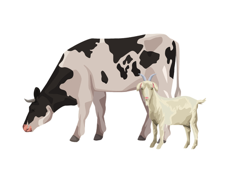 cow and goat icon cartoon vector illustration graphic design  イラスト・ベクター素材