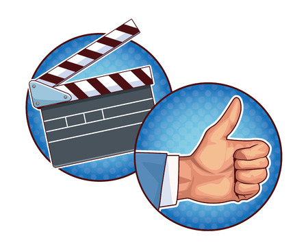 movie clapper board and thumb up icon pop art round icons vector illustration graphic design Illustration