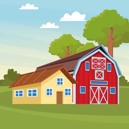 farm and barn icon cartoon rural landscape vector illustration graphic design