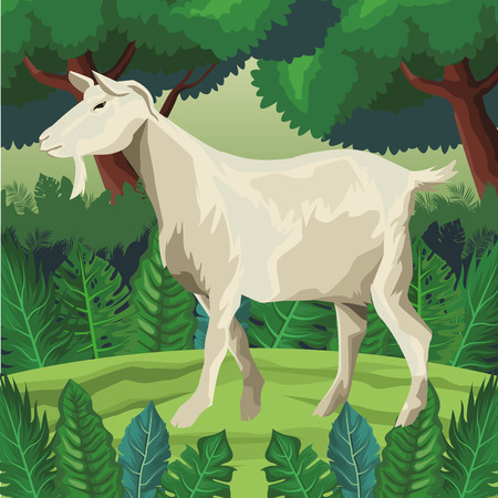 goat icon cartoon isolated wild landscape vector illustration graphic design
