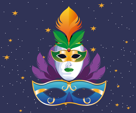 masks with feathers icon cartoon starry night sky background vector illustration graphic design