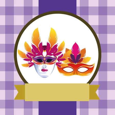masks with feathers icon cartoon checkered pattern round icon with ribbon vector illustration graphic design Illustration