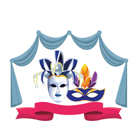 masks with feathers icon cartoon curtain and ribbon vector illustration graphic design