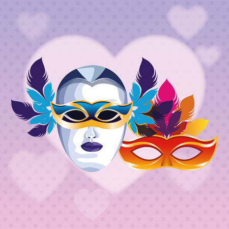 masks with feathers icon cartoon heart background vector illustration graphic design Illustration