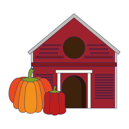Farm with pumpkin and pepper vegetables vector illustration graphic design Vectores