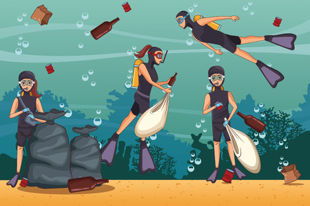 Sacs de bénévoles de nettoyage de la mer et dessins animés de déchets vector illustration graphisme