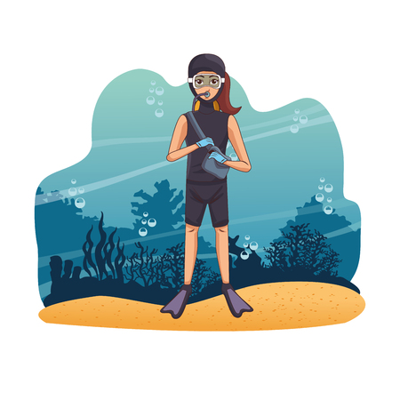Diving people in the sea woman in seaweed vector illustration graphic design