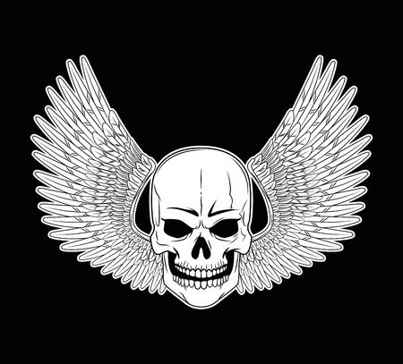 Tattoo old school skull and wings drawing black background vector illustration graphic design