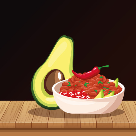 Mexican food avocado and chilli on table cartoons vector illustration graphic design Illustration