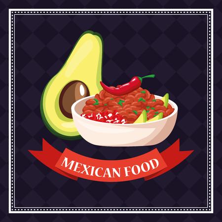 Mexikanisches Essen Karte Avocado und Chili Cartoons Vektor-Illustration Grafikdesign