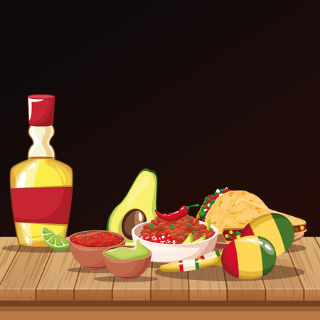 Mexican food with tequila on table cartoons vector illustration graphic design Illustration