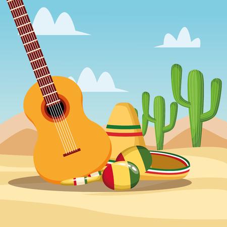 Mexikanisches Essen im Wüstenkarikaturen-Vektorillustrationsgrafikdesign