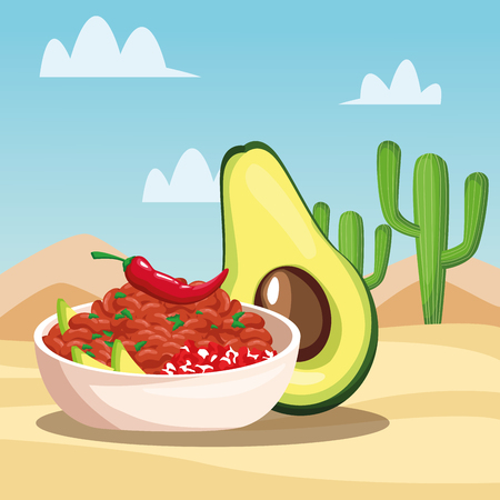 Mexican food in the desert cartoons vector illustration graphic design