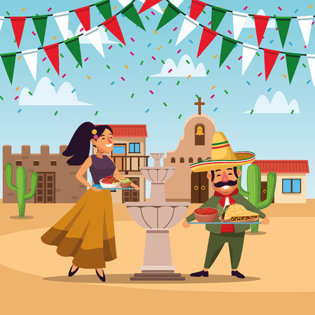Mexicans on celebration at cinco de mayo cartoon at town vector  illustration graphic design