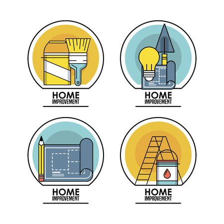 Home improvement and construction tools emblems set vector illustration graphic design