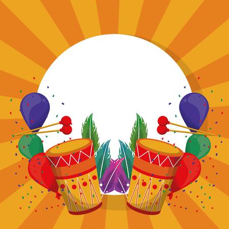 Carnival party round frame h celebration elements vector illustration graphic design Illustration