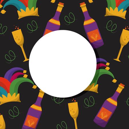 Carnival party round frame with celebration elements vector illustration graphic design Illustration