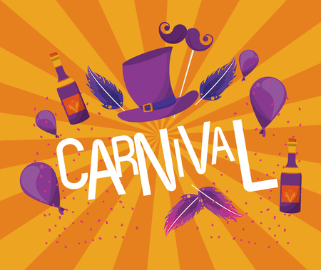 Carnival festival card banner with cartoons vector illustration graphic design