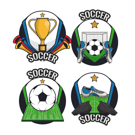 Soccer sport game cartoons collection vector illustration graphic design