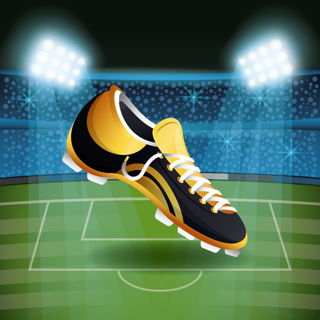 Soccer boot on stadium with fans scenery vector illustration graphic design