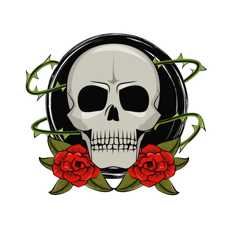 Tattoo studio old school skull and roses drawings vector illustration graphic design Illustration