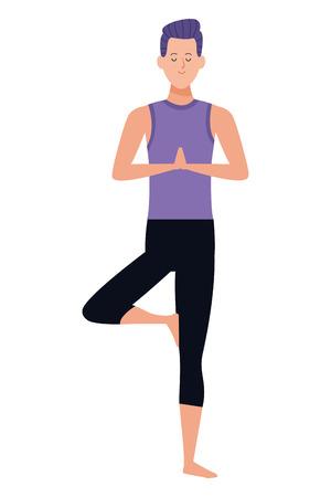 man yoga pose avatar cartoon character vector illustration graphic design