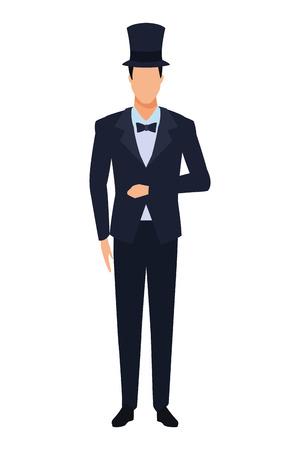 Hombre vestido con esmoquin avatar personaje de dibujos animados con pajarita y sombrero de copa ilustración vectorial diseño gráfico