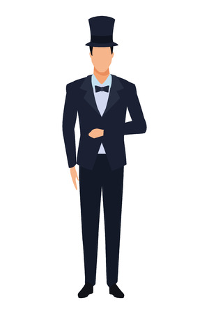 mężczyzna ubrany w smoking avatar postać z kreskówki z muszką i cylinder wektor ilustracja projekt graficzny