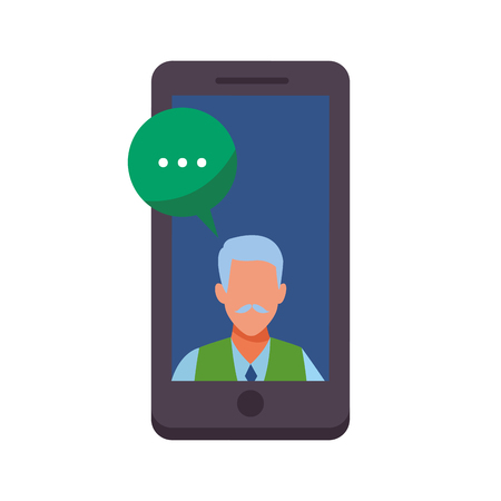 old man into a cellphone with speech bubble avatar cartoon character vector illustration graphic design Иллюстрация