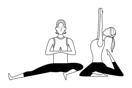 couple yoga poses avatars cartoon character with ponytail black and white isolated vector illustration graphic design