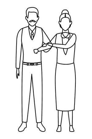 elderly couple avatar cartoon character black and white vector illustration graphic design Illustration