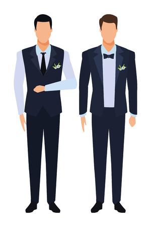 Männer, die Smoking-Avatar-Zeichentrickfiguren mit Krawatte und Weste tragen, Vektorillustrationsgrafikdesign